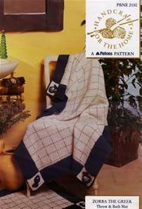 Zorba the Greek Throw and Bath Mat Pattern - Patons 2130