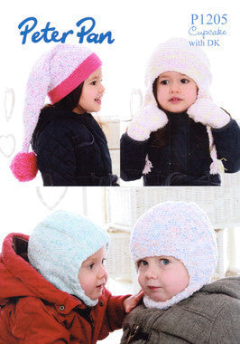 Childs Balaclava, Earflap Hat, Pom Pom Hat and Mitts Pattern - Peter Pan 1205
