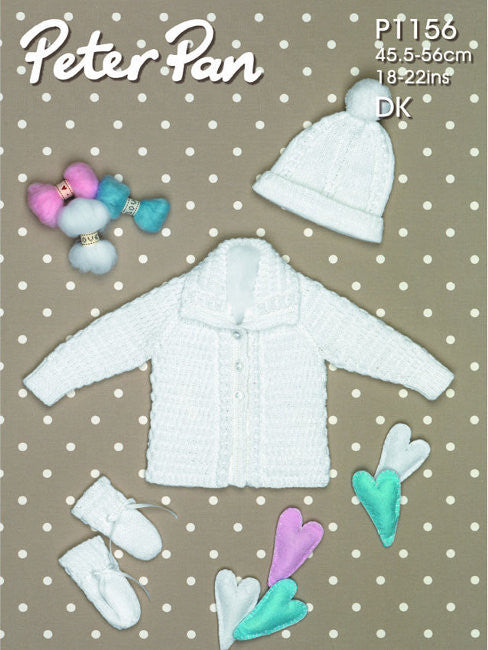Babies Jacket, Hat and Mitts Pattern - Peter Pan 1156