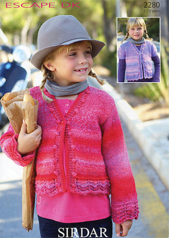 Girls V Neck Cardigan Knitting Pattern - Sirdar 2280