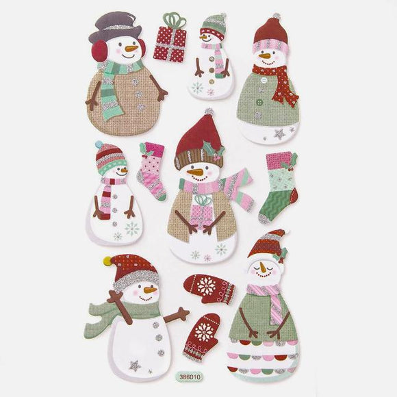 Snowmen Glitter Foam Stickers by Panduro Hobby