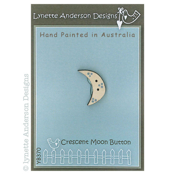 Lynette Anderson Crescent Moon Hand Painted Wooden Button