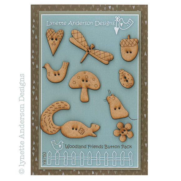Lynette Anderson Woodland Friends Wooden Button Pack