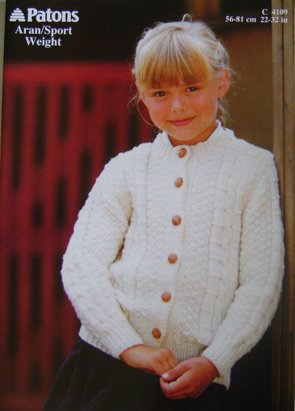 Child's Aran Cardigan Pattern - Patons 4109