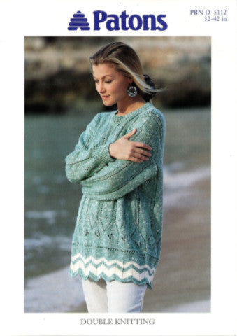 Ladies Chevron Border Tunic/Sweater Knitting Pattern - Patons 5112