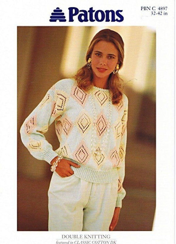 Ladies Long Sleeve Diamond Lace Sweater Knitting Pattern - Patons 4897