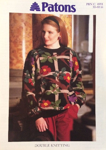 Ladies Bird and Trellis Intarsia Sweater Knitting Pattern - Patons 4991