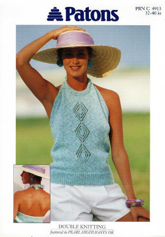 Ladies Halter Neck Top Knitting Pattern - Patons 4913