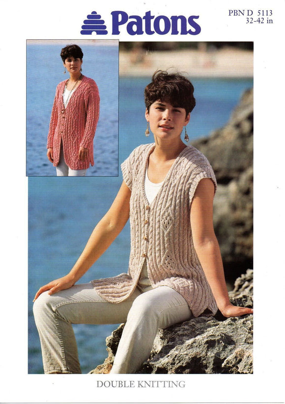 Ladies Long Line Cabled Cardigan and Waistcoat Knitting Pattern - Patons 5113