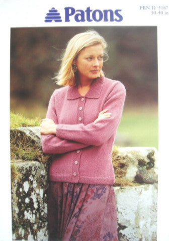 Ladies Classic Cardigan with Collar Knitting Pattern - Patons 5187