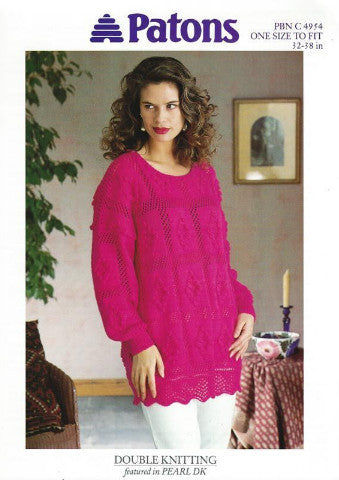 Ladies Lacy Tunic/Sweater Knitting Pattern - Patons 4954