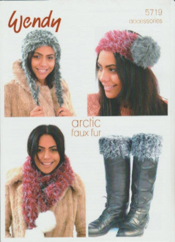 Hat, Scarf, Boot Toppers and Headband in Faux Fur Knitting Pattern - Wendy 5719