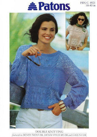 Ladies Cable Sweater and Top Knitting Pattern - Patons 4921