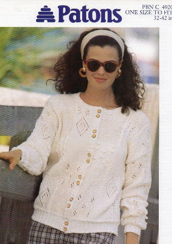 Ladies Lacy and Moss Stitch Cardigan Knitting Pattern - Patons 4920