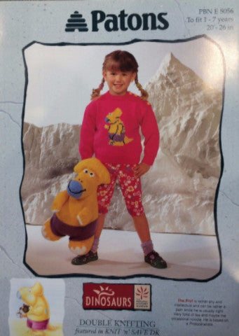 Children's Round Neck Sweater and Dinosaur Toy - Patons 5056