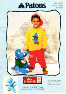 Children's Round Neck Sweater and Dinosaur Toy - Patons 5057