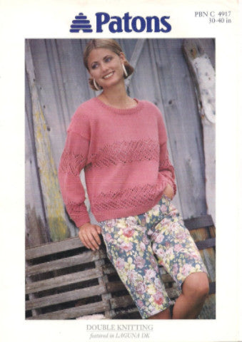 Ladies Lacy Detail Sweater Knitting Pattern - Patons 4917