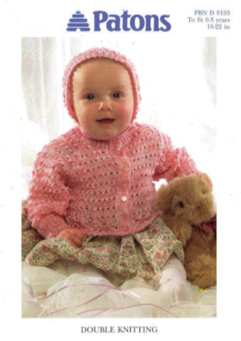 Babies Lacy Raglan Cardigan  and Hat Knitting Pattern - Patons 5153