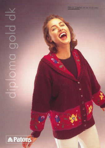 Ladies Floral Jacket Knitting Pattern - Patons 2368