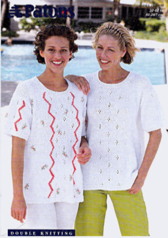 Ladies Lace Panel Short Sleeved Tops Knitting Pattern - Patons 2270