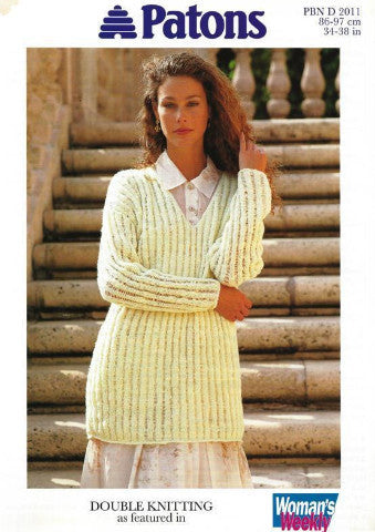 Ladies V Neck Ribbed Sweater Knitting Pattern - Patons 2011