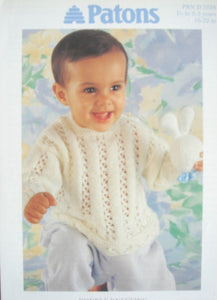 Babies Eyelet Panel Sweater Knitting Pattern - Patons 5334