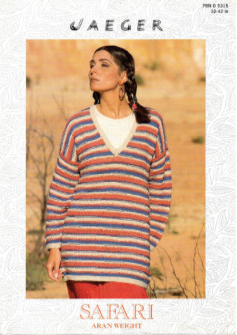Ladies Aran Jumper Knitting Pattern - Jaeger 5315