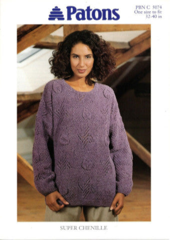 Ladies Leaf and Lace Sweater/Tunic Knitting Pattern - Patons 5074