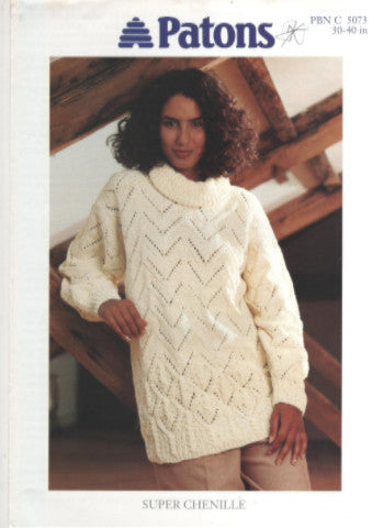 Ladies Lace Sweater/Tunic Knitting Pattern - Patons 5073