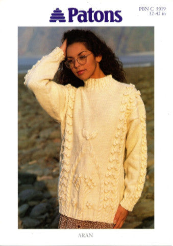 Ladies Tree and Bobble Sweater/Tunic Knitting Pattern - Patons 5019