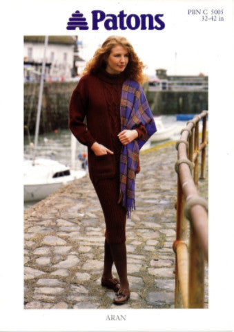 Ladies Aran Sweater/Tunic and Skirt Knitting Pattern - Patons 5005