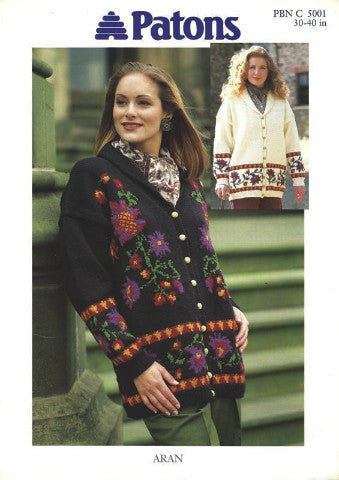 Ladies Shawl Collar Aran Floral Motif Jacket Knitting Pattern - Patons 5001