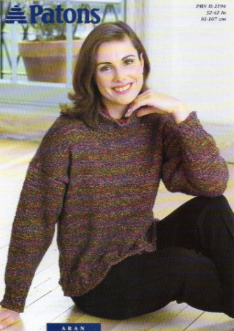 Ladies Aran Jumper Knitting Pattern - Patons 2194