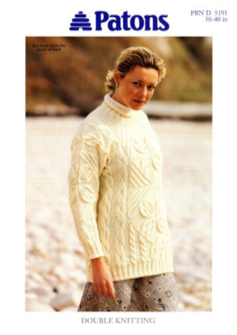 Ladies Leaf and Cable Tunic/Sweater Knitting Pattern - Patons 5191