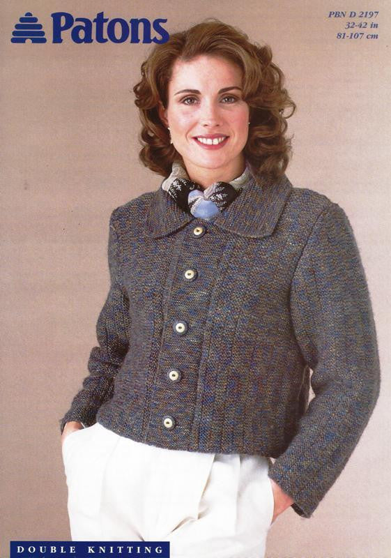 Ladies Cropped Jacket Knitting Pattern - Patons 2197