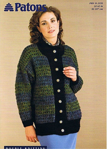Ladies Long Jacket Knitting Pattern - Patons 2199