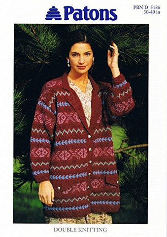 Ladies Fairisle and Texture Jacket Knitting Pattern - Patons 5186