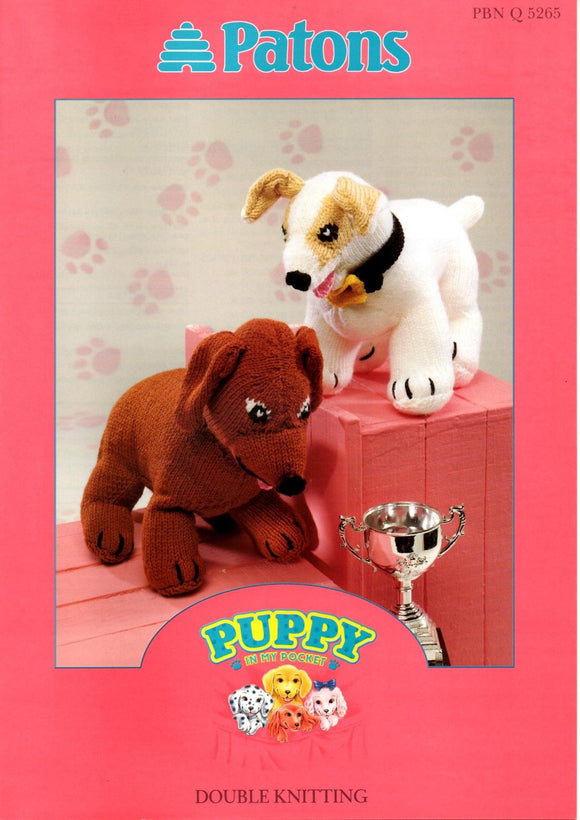 Sally and Ricky Puppy in My Pocket Knitting Pattern - Patons 5265