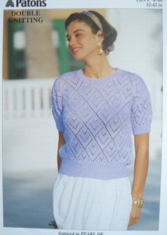 Ladies Short Sleeve Lacy Top Knitting Pattern - Patons 4760