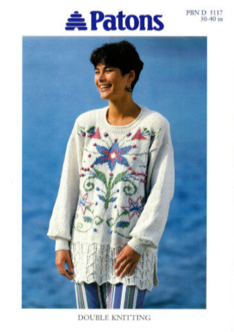 Ladies Floral Motif Tunic/Sweater Knitting Pattern - Patons 5117