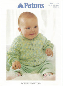Childs/Babies Lacy Raglan Cardigan Knitting Pattern - Patons 5152