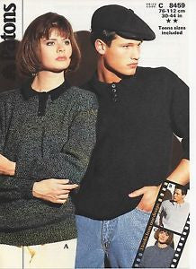 His and Hers Shirt Style Sweater - Patons 8459