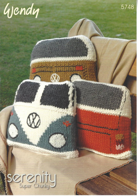 VW Camper Cushions Knitting Pattern - Wendy 5748