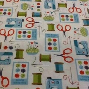 Fat Quarter - Sew Simple All Over by Makower (1337)