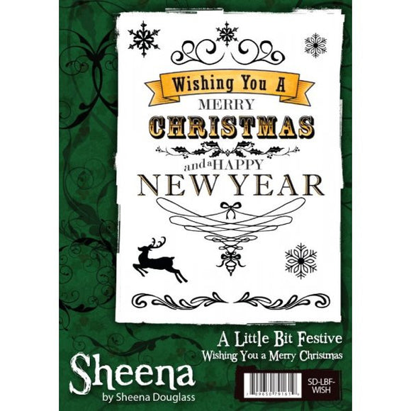 Sheena Douglass A Little Bit Festive A6 Unmounted Rubber Stamp - Wishing You a Merry Christmas