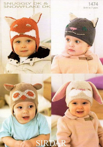 Children's Animal Hats Knitting Pattern - Sirdar 1474