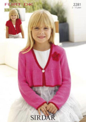 Girls Cropped Cardigan with Flower Knitting Pattern - Sirdar 2281