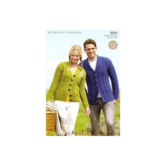 His and Hers Aran Cardigans - Sirdar 9690