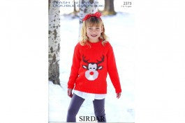 Sirdar Knitting Pattern 2373 - Kids/Teens Reindeer Sweater - DK
