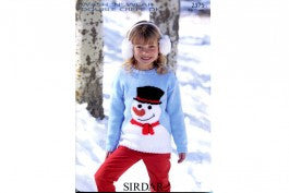 Sirdar Knitting Pattern 2375 - Kids/Teens Snowman Sweater - DK